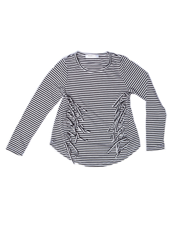 Joah Love Padma Side Fringe Top - Black & White Stripe