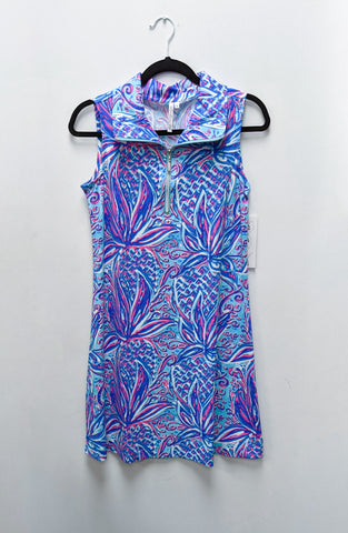 Lulu-B Open Cut Dress Printed Blue Flowers
