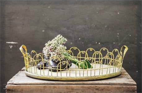 Yellow Wire and Wood Tray
