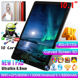 Android 9.1 Octa Core 10.1 Inch Tablet PC 8GB RAM 512GB ROM WIFI Tablet.