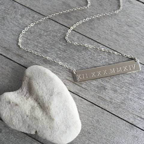 Roman Numeral Silver Bar Necklace