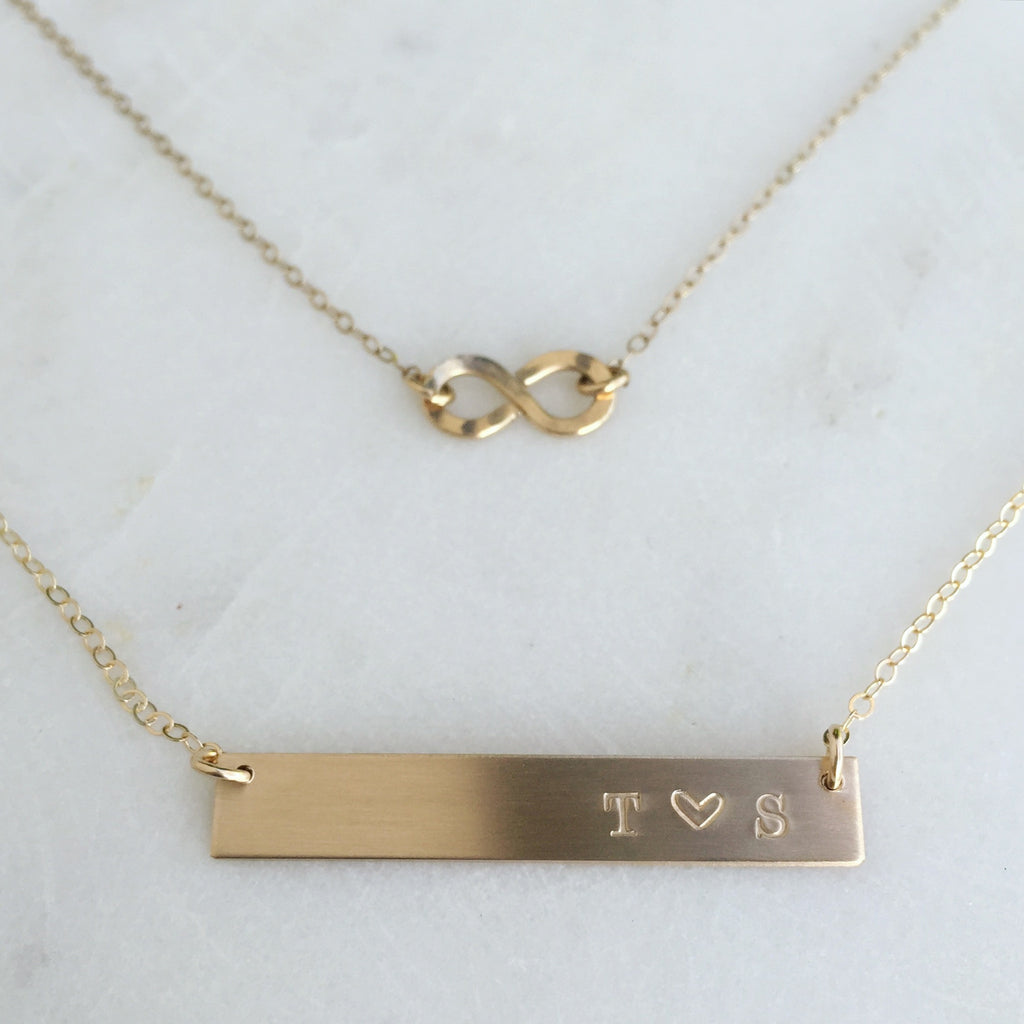 Gold Bar Initials Necklace