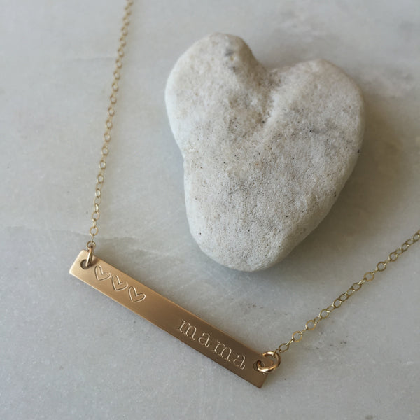 Gold Skinny Bar Mama Necklace