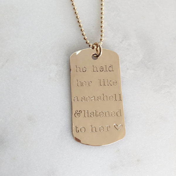 Personalized Large Gold Dog Tag Necklace
