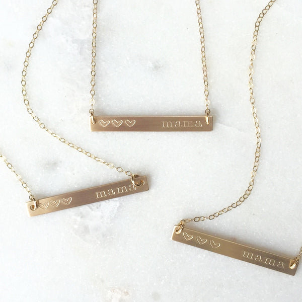 Copy of Gold Skinny Bar Mama Necklace