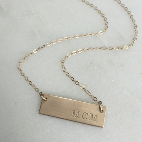Gold Bar Monogram Necklace