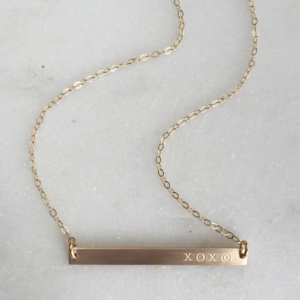 XOXO Hand Stamped Gold Bar Necklace