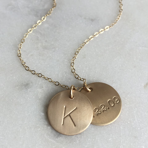 Date, Name, or Initial Gold Disc Necklace