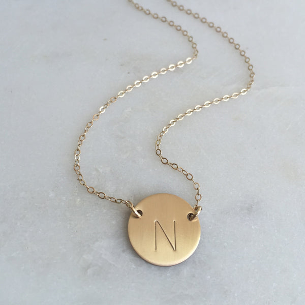 Gold Initial Necklace Double Hole