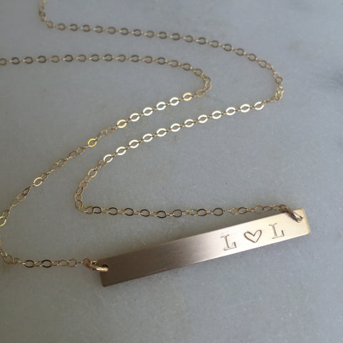 Skinny Initial Gold Bar Necklace