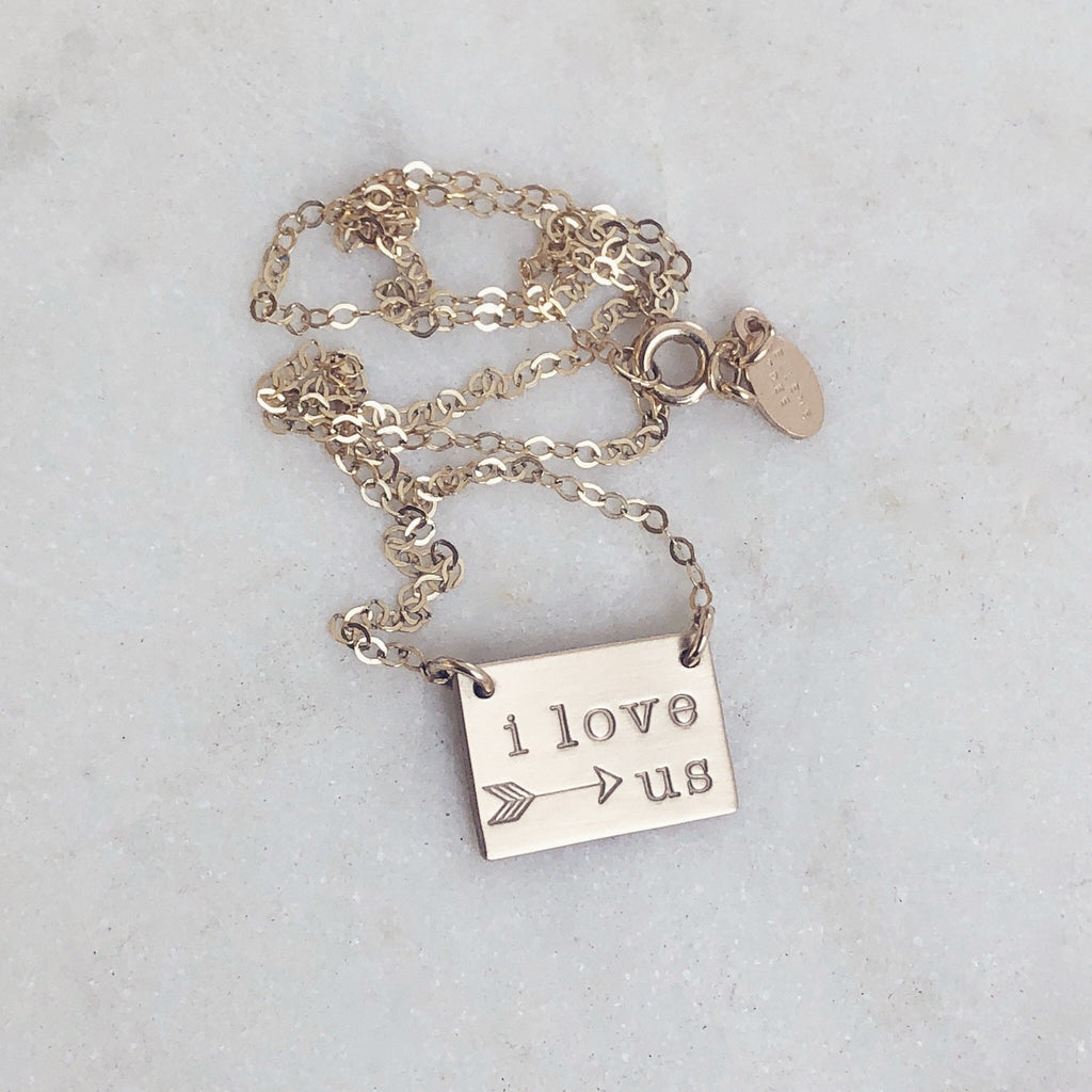 I Love Us Necklace w/arrow