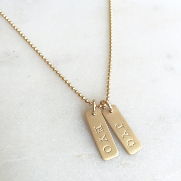 Mini Custom Stamped Gold Bar Necklace