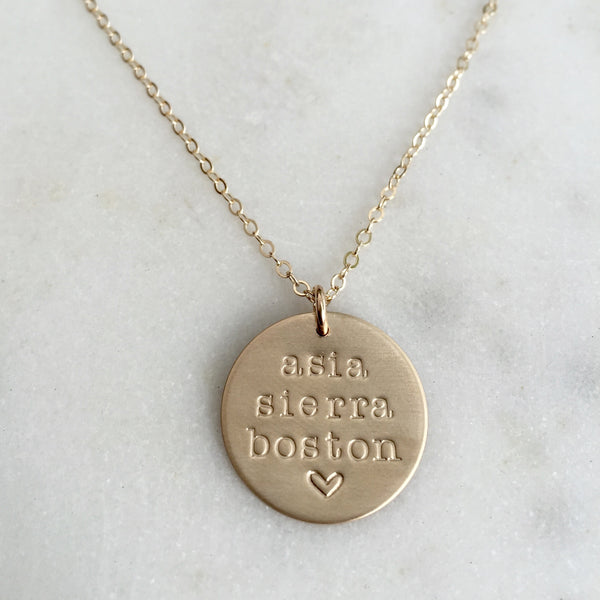 Custom Name Gold Disc Necklace