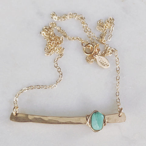 A Drop of The Ocean Turquoise Bar Necklace