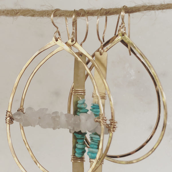 Turquoise Hammered Earrings