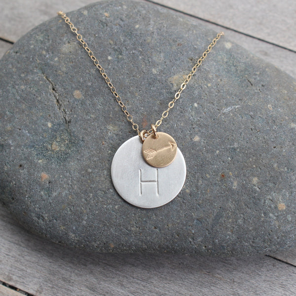Arrow & Initial Hand Stamped Sterling Silver Necklace