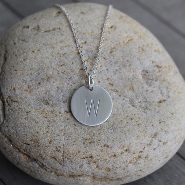 Initial Necklace Hand Stamped In Sterling Silver