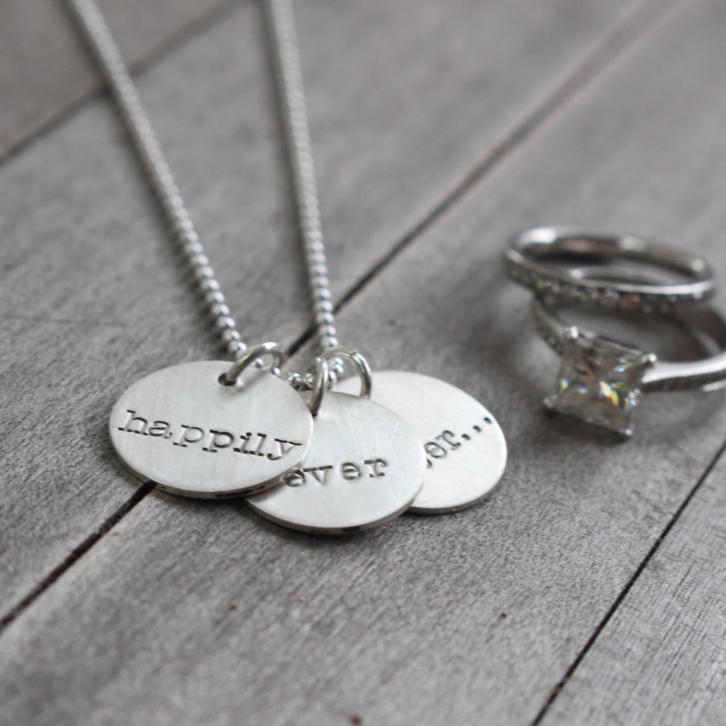 """Happily Ever After"" Hand Stamped Necklace in 14k Gold Filled or Sterling Silver"