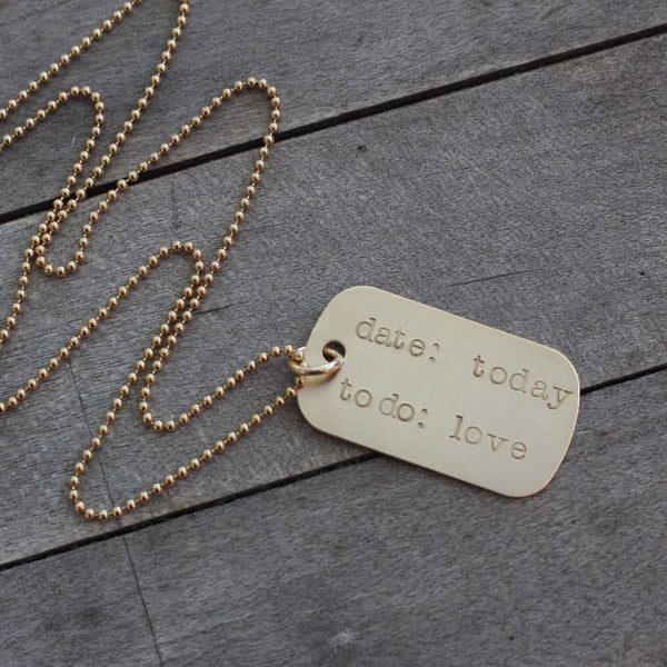 Love Today Gold Dog Tag Necklace