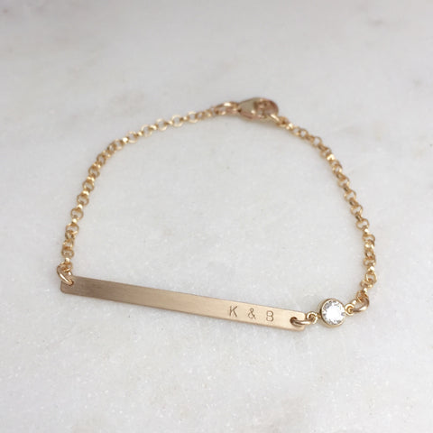 Tiny Gold Bar Personalized Bracelet