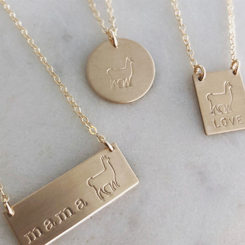 Gold Llama Necklace