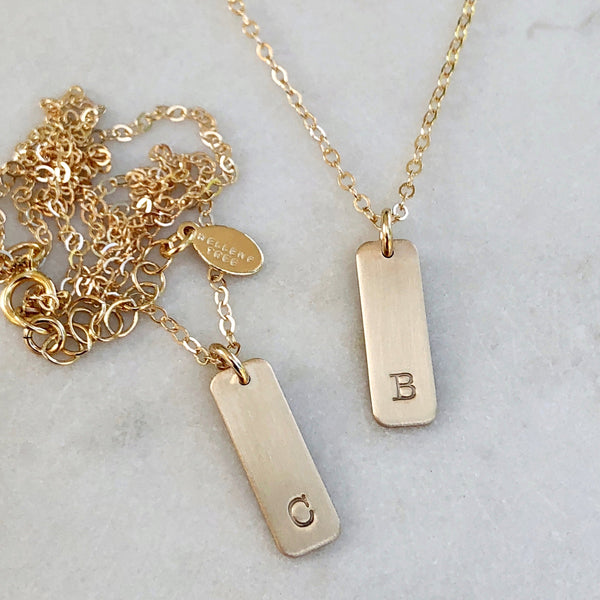 Gold Mini Bar Hand Stamped Initial Necklace