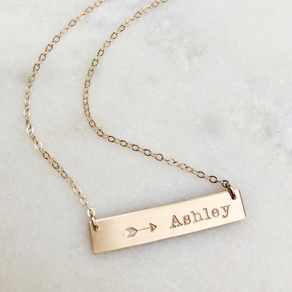 Custom Name Gold Bar Necklace