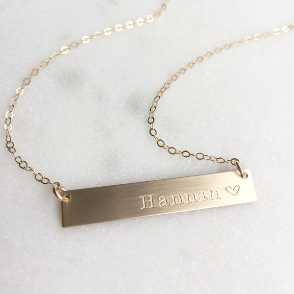 Personalized One Name Gold Bar Necklace