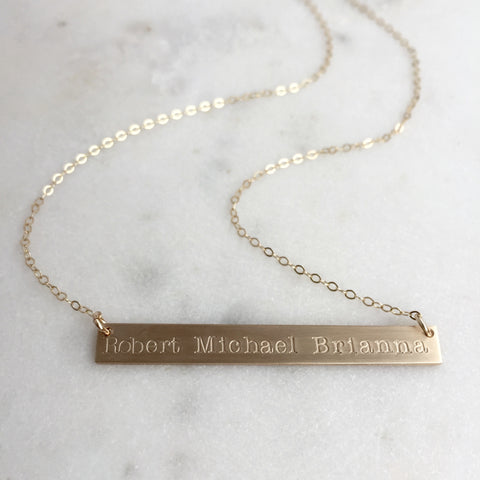 Extra Long Gold Bar Necklace