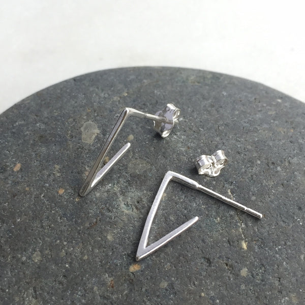 Silver Angled Earrings