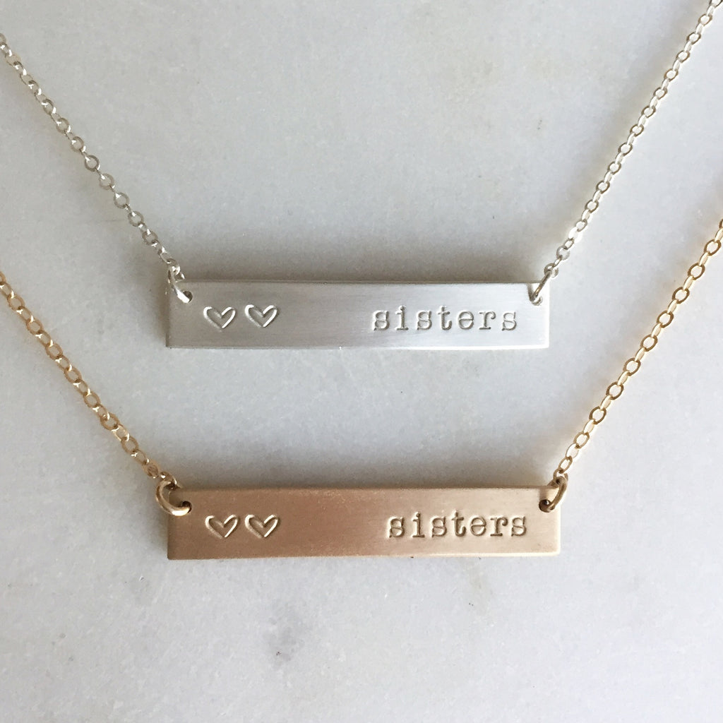 Gold Bar Sister Necklace