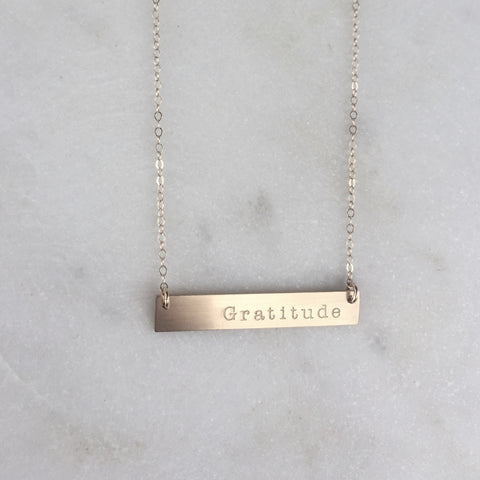 Gratitude Gold Bar Necklace
