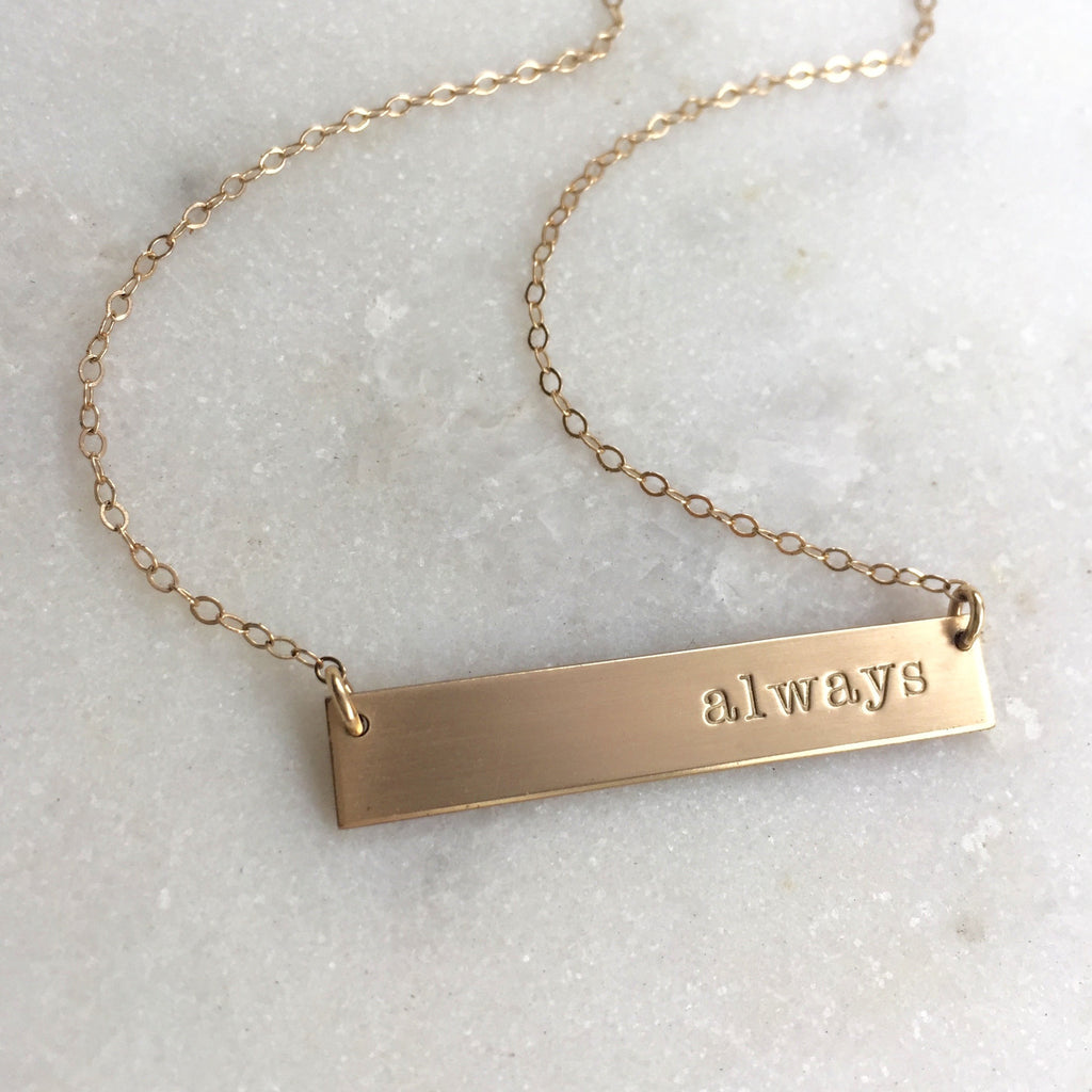"""Always"" Gold or Silver Bar Necklace"