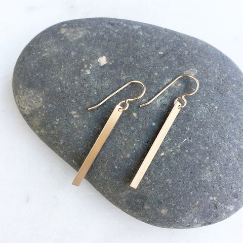 Small Gold Bar Drop Earrings