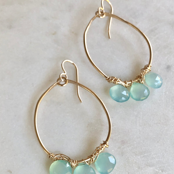 Chalcedony Gold WIre Earrings