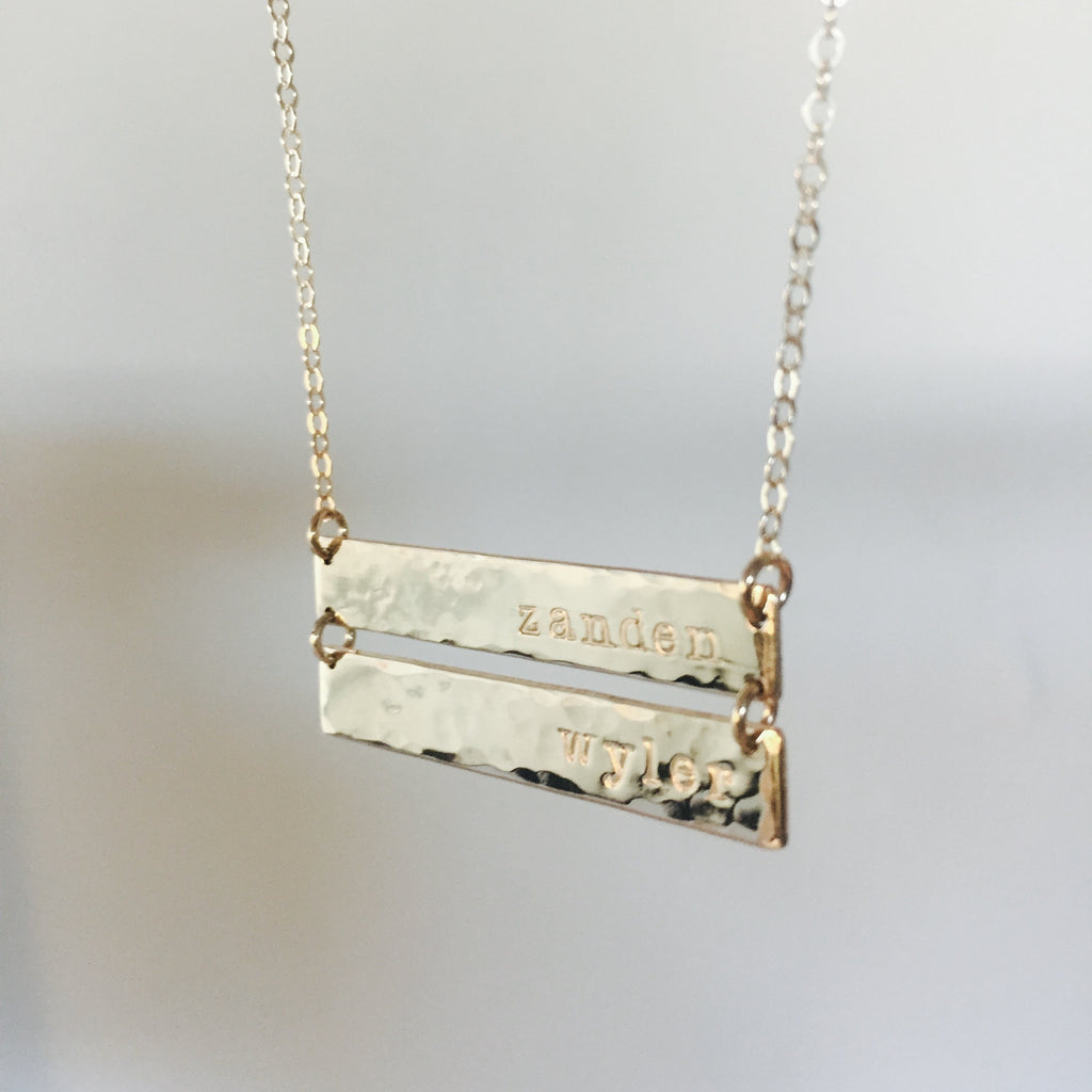 Double Gold Bar Necklace