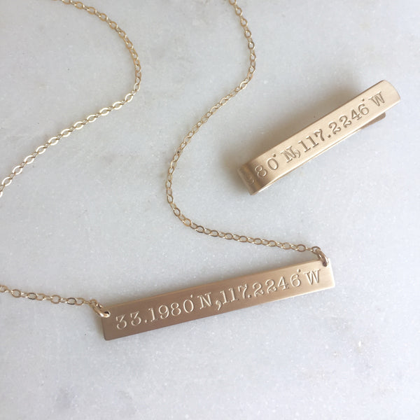 Coordinates Gold Bar Necklace