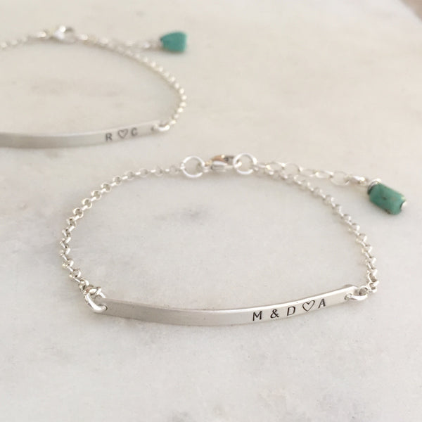 Tiny Silver Bar Personalized Bracelet