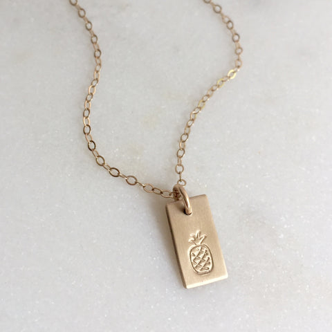 Gold Pineapple Bar Necklace