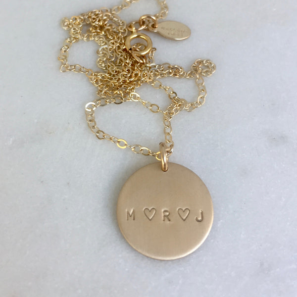 Tiny Font Gold Disc Necklace