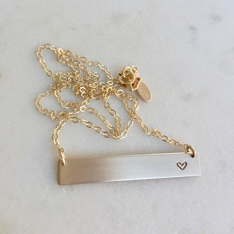 Tiny Heart Bar Necklace