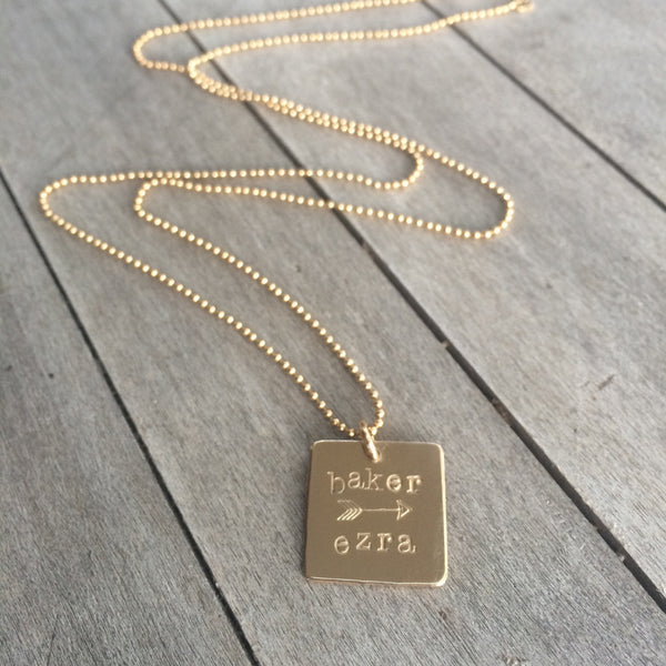 Custom Names and Arrow Gold Square Necklace