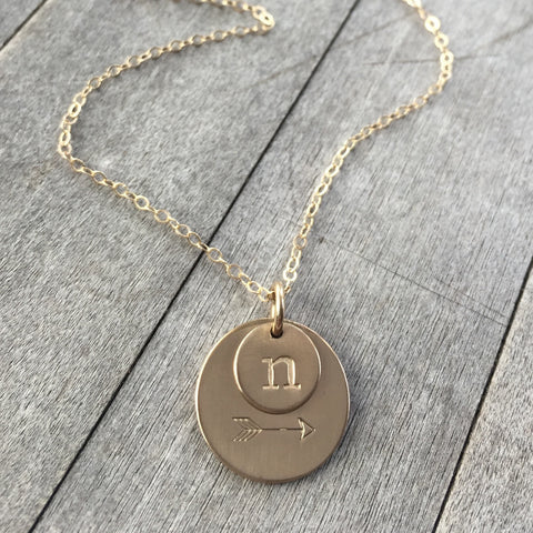 Arrow & Initial Gold Necklace