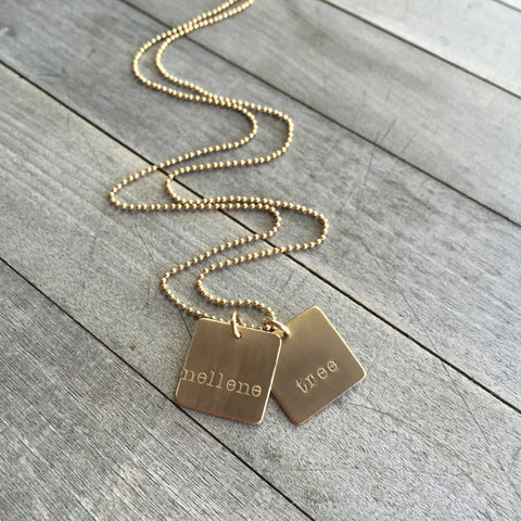 Custom Name Gold Square Tags Necklace