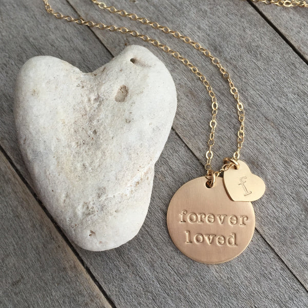"""Forever Loved"" Hand Stamped Gold Necklace"