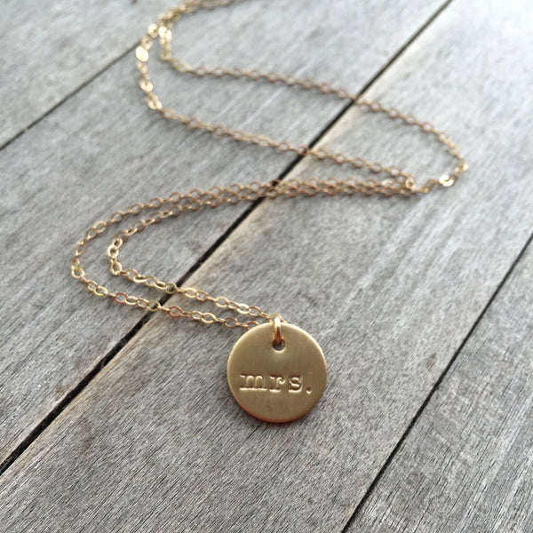 Mrs. Hand Stamped Gold Necklace