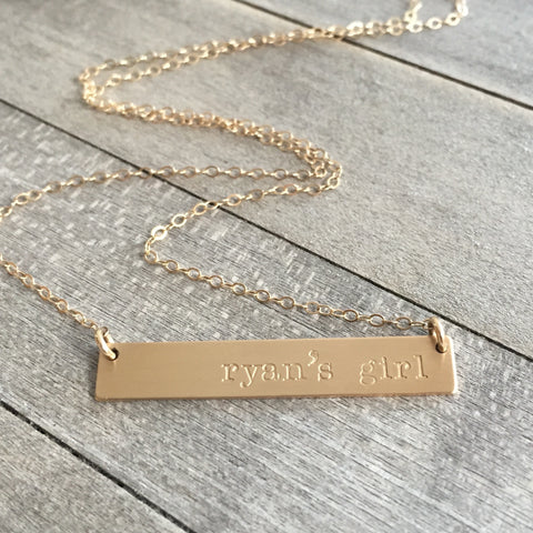 Ryan's girl  Gold Bar Necklace