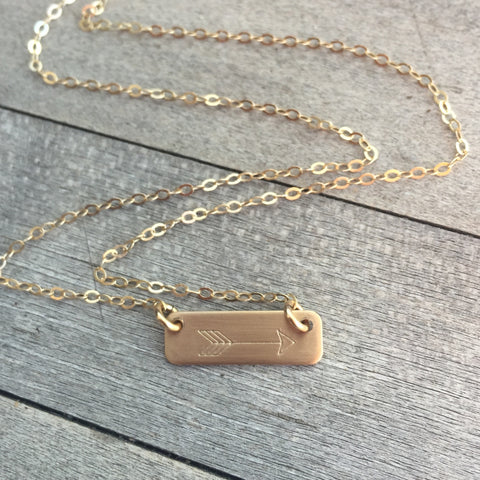 Mini Gold Arrow Bar Necklace