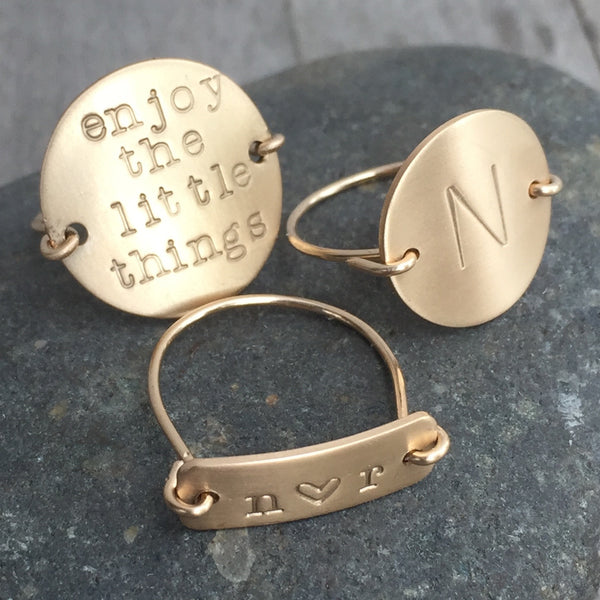 Personalized Gold Disc Ring