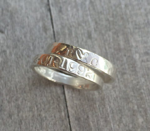 Silver Name or Date Ring Hand Stamped